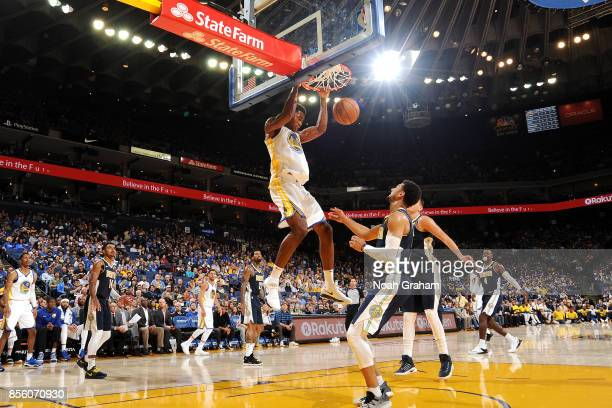 Damian Jones of the Golden State Warriors dunks the ball during the game against the Denver Nuggets during a preseason game on September 30 2017 at...