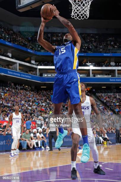 Damian Jones of the Golden State Warriors goes to the basket against the Sacramento Kings on July 3 2018 at Golden 1 Center in Sacramento California...