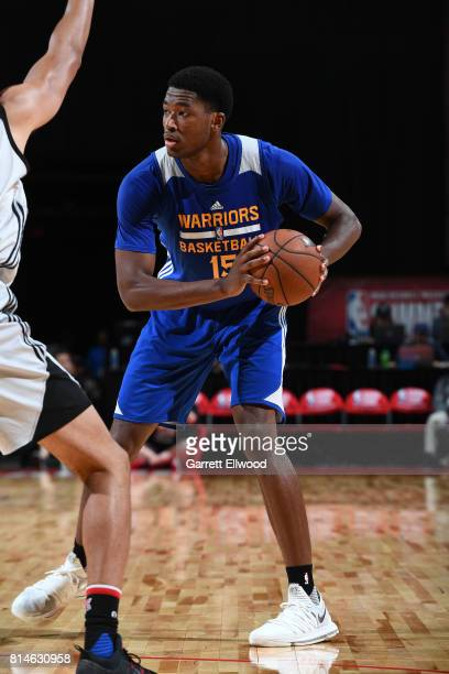 Damian Jones of the Golden State Warriors handles the ball against the LA Clippers on July 14 2017 at the Thomas Mack Center in Las Vegas Nevada NOTE...