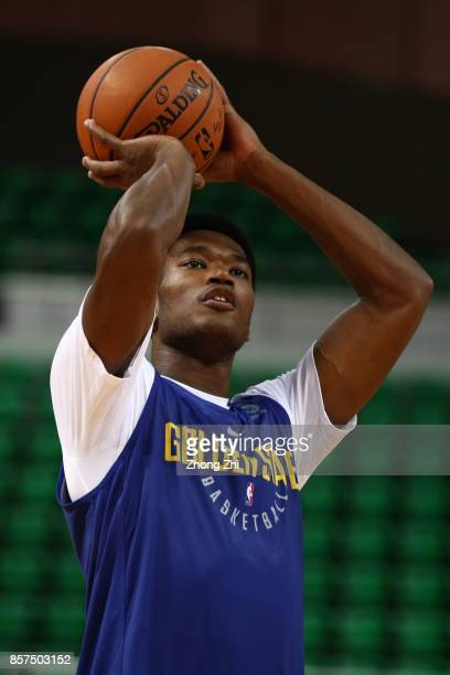 Damian Jones of the Golden State Warriors in action during practice at Shenzhen Gymnasium as part of 2017 NBA Global Games China on October 4 2017 in...