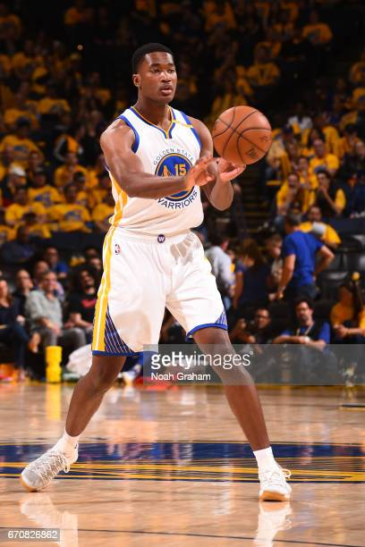 Damian Jones of the Golden State Warriors passes the ball against the Portland Trail Blazers during Game Two of the Western Conference Quarterfinals...