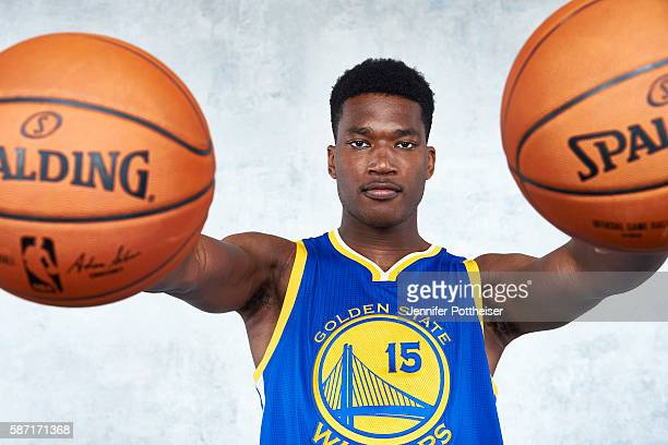 Damian Jones of the Golden State Warriors pose for a portrait during the 2016 NBA rookie photo shoot on August 7 2016 at the Madison Square Garden...