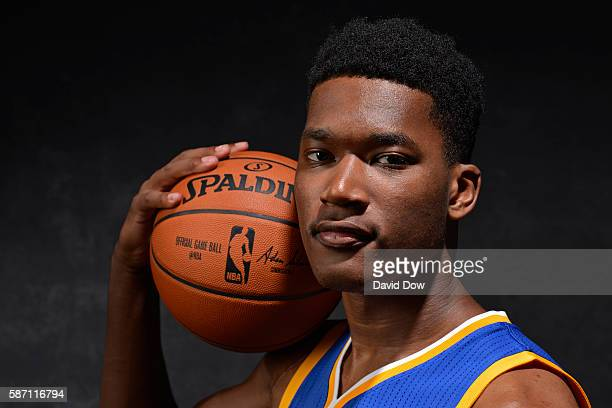 Damian Jones of the Golden State Warriors poses for a photo during the 2016 NBA Rookie Shoot on August 7 2016 at the Madison Square Garden Training...