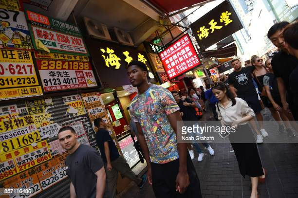 Damian Jones of the Golden State Warriors takes in some sights around Hong Kong as part of the 2017 Global Games China on October 3 2017 in Hong Kong...
