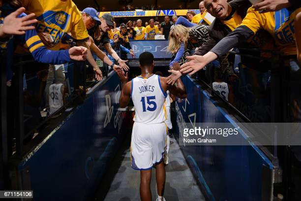 Damian Jones of the Golden State Warriors walks off the court after Game Two of the Western Conference Quarterfinals against the Portland Trail...