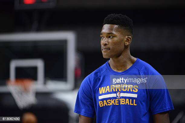 Damian Jones of the Golden State Warriors warms up before the game against the Sacramento Kings on October 6 2016 at SAP Center in San Jose...