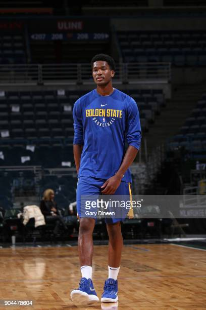 Damian Jones of the Golden State Warriors warms up before the game against the Milwaukee Bucks on January 12 2018 at the BMO Harris Bradley Center in...