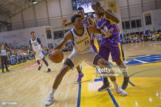 Damian Jones of the Santa Cruz Warriors dribbles the ball against the South Bay Lakers during an NBA GLeague game on November 4 2017 at Kaiser...