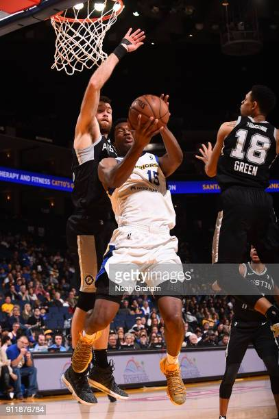 Damian Jones of the Santa Cruz Warriors drives to the basket against the Austin Spurs on January 28 2018 at Oracle Arena in Oakland California NOTE...