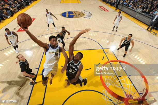Damian Jones of the Santa Cruz Warriors drives to the basket against the Austin Spurs and the Austin Spurs on January 28 2018 at Oracle Arena in...