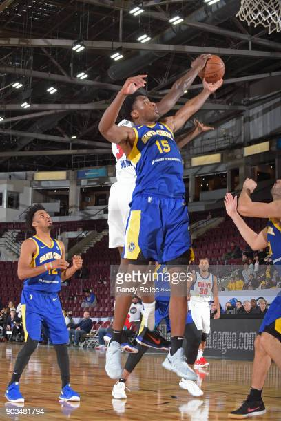 Damian Jones of the Santa Cruz Warriors grabs a rebound against the Grand Rapids Drive during the NBA GLeague Showcase on January 10 2018 at the...