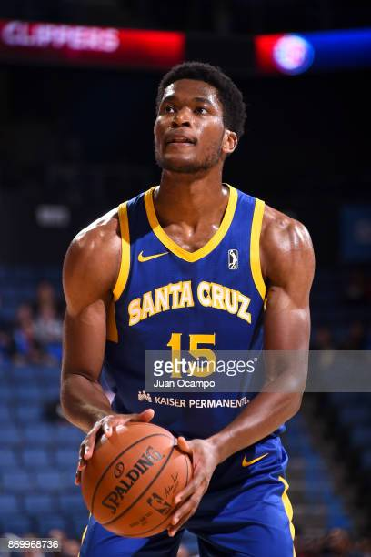 Damian Jones of the Santa Cruz Warriors shoots a free throw against the Agua Caliente Clippers during the NBA GLeague on November 3 2017 at Citizens...