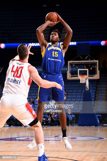 Damian Jones of the Santa Cruz Warriors shoots the ball against the Agua Caliente Clippers during the NBA GLeague on November 3 2017 at Citizens...
