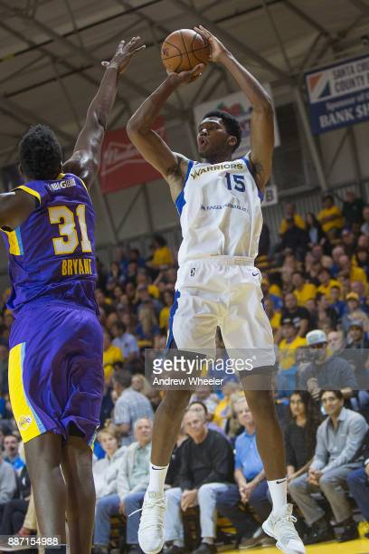 Damian Jones of the Santa Cruz Warriors shoots the ball against the South Bay Lakers during an NBA GLeague game on November 4 2017 at Kaiser...