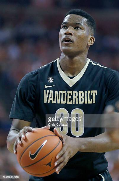 Damian Jones of the Vanderbilt Commodores shoots a free throw against the Texas Longhorns at the Frank Erwin Center on January 30 2016 in Austin Texas