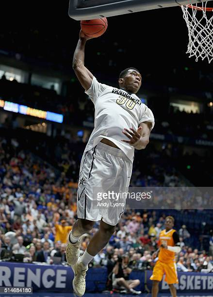 Damian Jones of the Vanderbilt Commodores shoots the ball against the Tennessee Volunteers during the second round of the SEC Basketball Tournament...