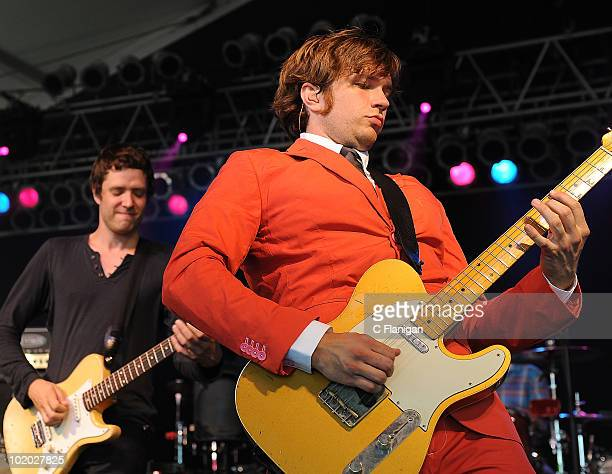 Damian Kulash and Andy Ross of OK GO perform during day 2 of the Bonnaroo Music and Arts Festival at the Bonnaroo Festival Grounds on June 11 2010 in...