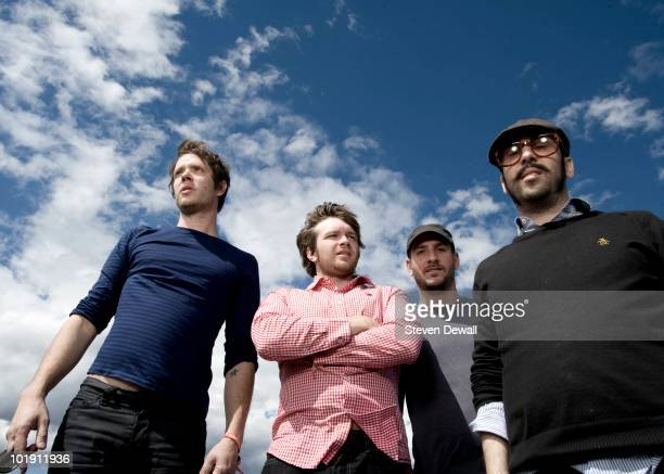 Damian Kulash Andy Ross Dan Konopka and Tim Nordwind of OK Go pose for a portrait backstage at the Sasquatch Music Festival on 29th May 2010 in...