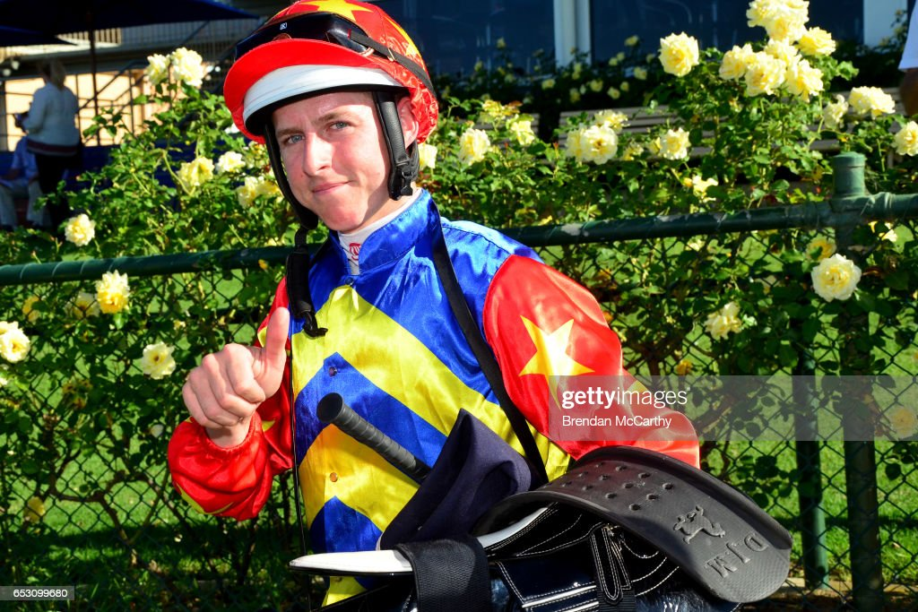 Damian Lane after winning the Leon Weigard Class 1 Handicap at Bendigo Racecourse on March 14, 2017 in Bendigo, Australia.