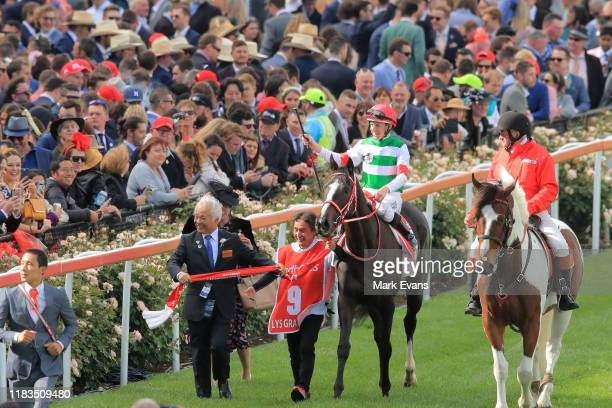 Damian Lane on Lys Gracieux returns to scale after winning race 9 the Ladbrokes Cox Plate during Cox Plate Day at Moonee Valley Racecourse on October...
