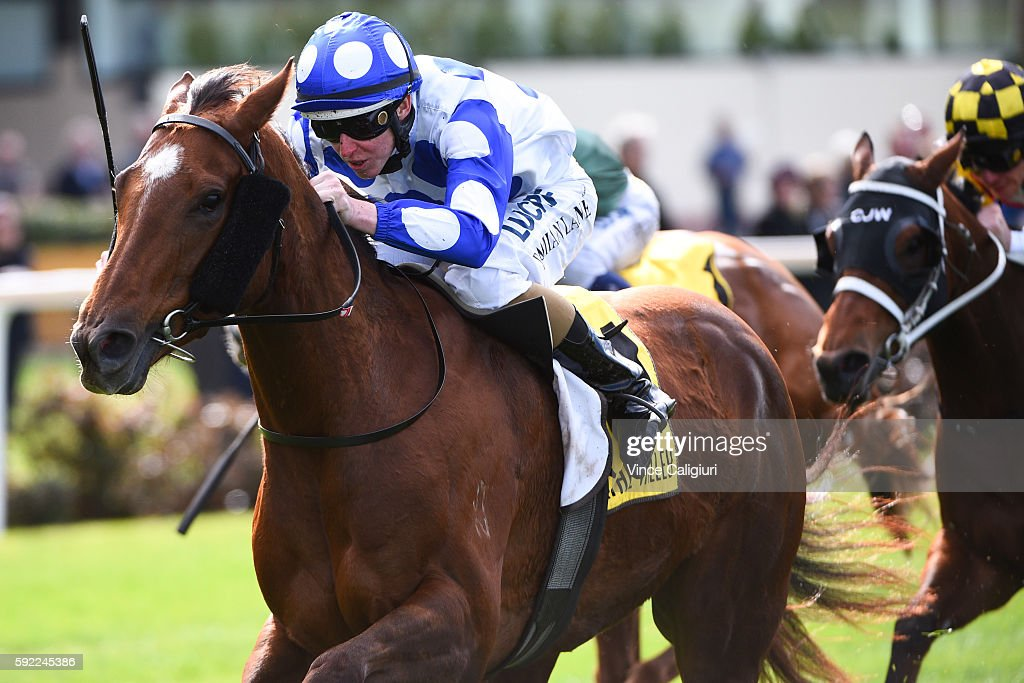 Damian Lane riding Catch a Fire wins Race 3, during Melbourne Racing at Moonee Valley Racecourse on August 20, 2016 in Melbourne, Australia.