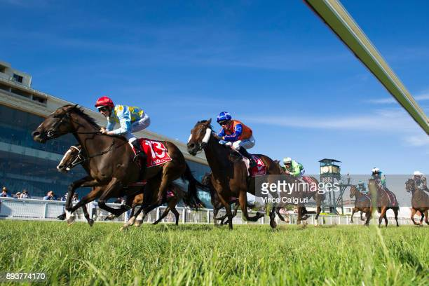Damian Lane riding Creativity wins Race 9 during Melbourne Racing at Caulfield Racecourse on December 16 2017 in Melbourne Australia