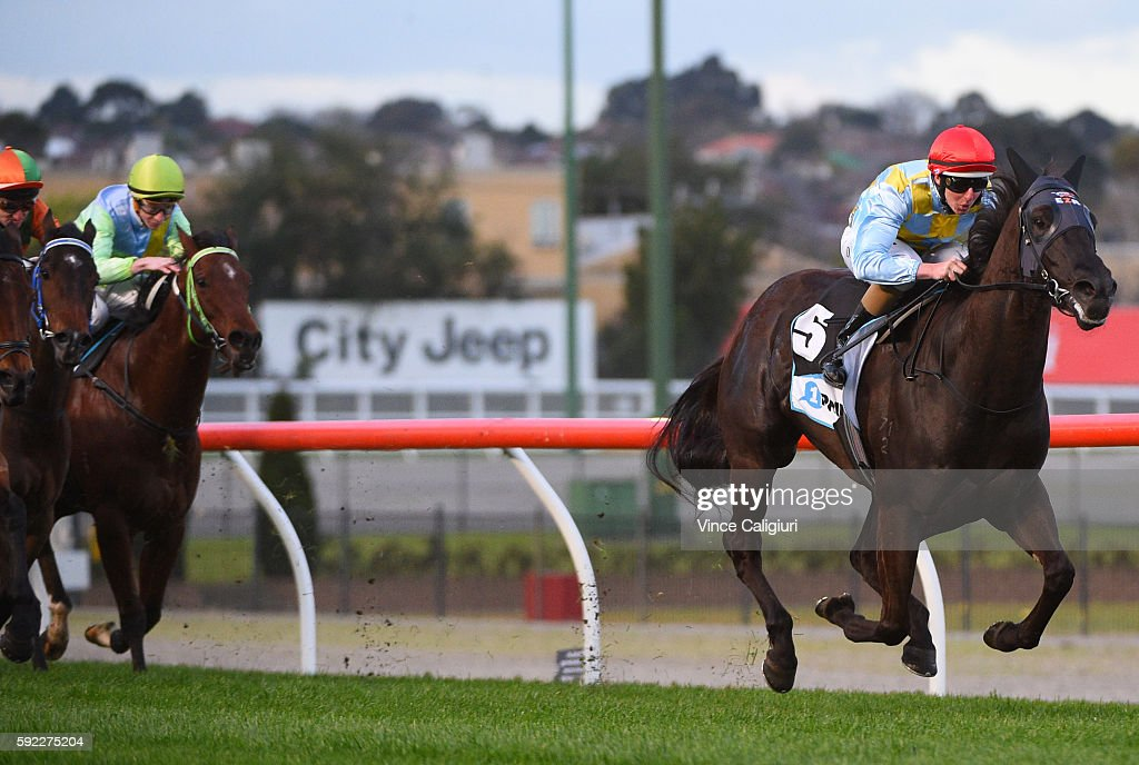 Damian Lane riding Heatherly wins Race 8, Carlyon Stakes during Melbourne Racing at Moonee Valley Racecourse on August 20, 2016 in Melbourne, Australia.