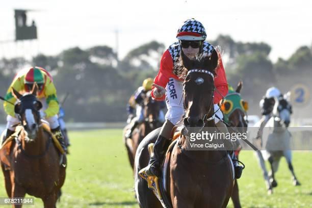 Damian Lane riding High Church wins Race 8 Warrnambool Cup during the Warrnambool Racing Carnival on May 4 2017 in Warrnambool Australia