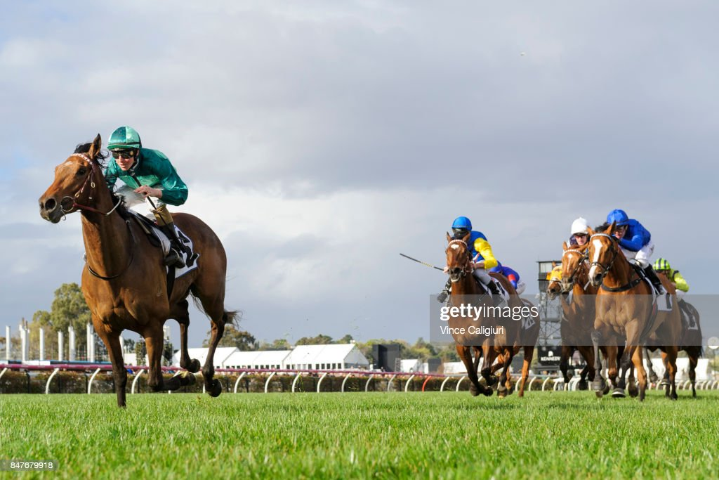 Damian Lane riding Humidor winning Race 7, PFD Food Services Makybe Diva Stakes during Melbourne Racing at Flemington Racecourse on September 16, 2017 in Melbourne, Australia.