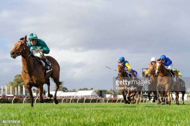 Damian Lane riding Humidor winning Race 7 PFD Food Services Makybe Diva Stakes during Melbourne Racing at Flemington Racecourse on September 16 2017...