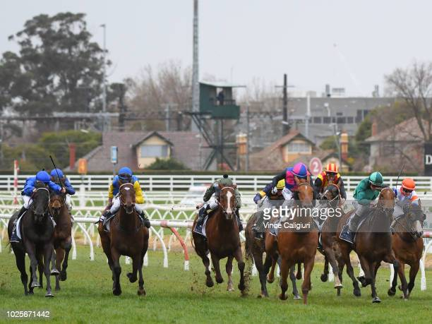 Damian Lane riding Humidor wins Race 7 Memsie Stakes during Memsie Stakes Day Melbourne Racing at Caulfield Racecourse on September 1 2018 in...