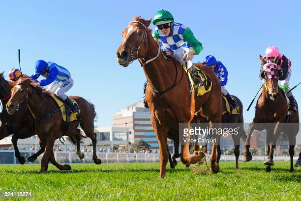 Damian Lane riding Kiwia wins Race 2 during Melbourne Racing at Caulfield Racecourse on July 29 2017 in Melbourne Australia