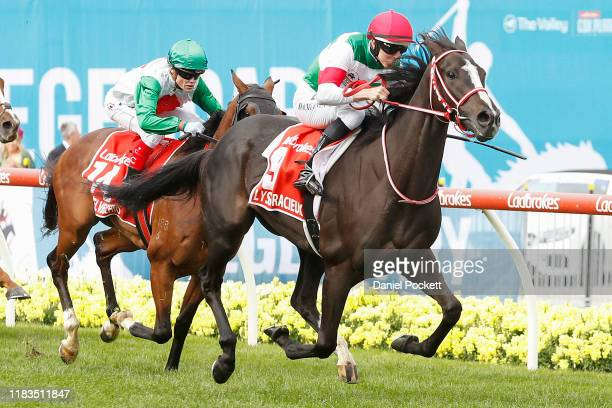 Damian Lane riding Lys Gracieux to win race 9 the Ladbrokes Cox Plate during Cox Plate Day at Mooney Valley Racecourse on October 26, 2019 in...