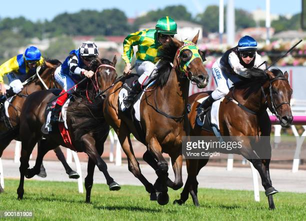 Damian Lane riding Parthesia defeats Linda Meech riding Etah James in Race 7 Bagot Handicap during Melbourne Racing at Flemington Racecourse on...