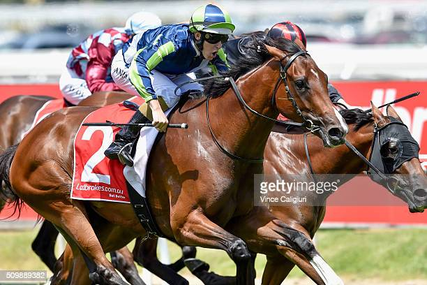 Damian Lane riding Risque wins Race 2 the Kevin Hayes Stakes during Melbourne Racing at Caulfield Racecourse on February 13 2016 in Melbourne...