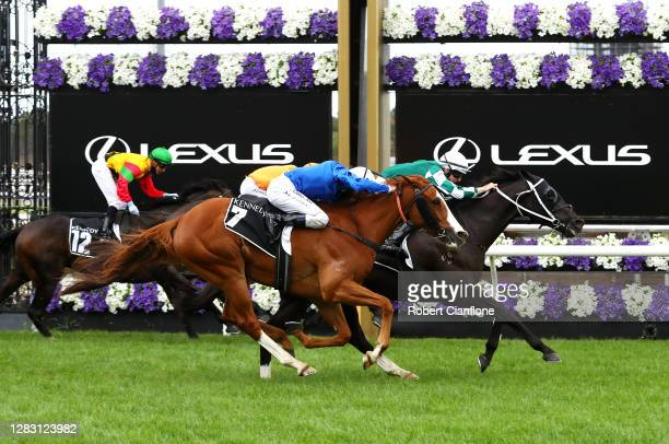 Damian Lane riding Yulong Prince wins race eight the Kennedy Cantala from Damien Oliver riding Cascadian and Michael Poy riding Rock during 2020 AAMI...