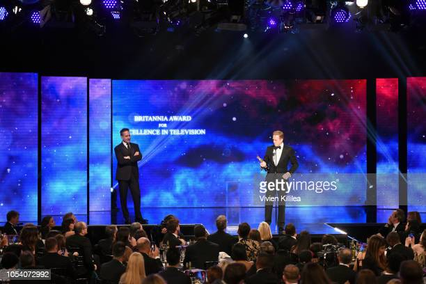 Damian Lewis accepts the Britannia Ward for Excellence in Television from Matthew Macfadyen at the 2018 British Academy Britannia Awards presented by...