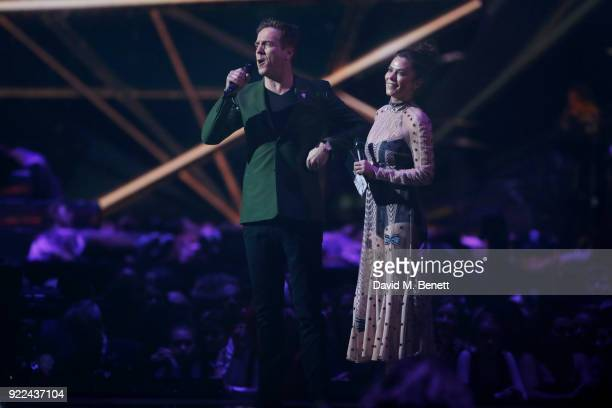 AWARDS 2018 *** Damian Lewis and Anna Friel speak onstage at The BRIT Awards 2018 held at The O2 Arena on February 21 2018 in London England