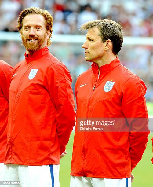 Damian Lewis and Ben Shephard play during Soccer Aid at Old Trafford on June 5, 2016 in Manchester, England.