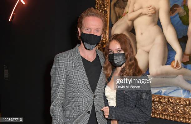 Damian Lewis and daughter Manon McCrory-Lewis attend the private view of the newly opened 'Artemisia' & 'Sin' exhibitions at The National Gallery on...