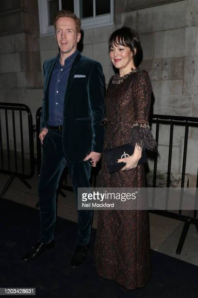 Damian Lewis and Helen McCrory arrive at the Charles Finch & CHANEL Pre-BAFTA Party at 5 Hertford Street on February 1, 2020 in London, England.