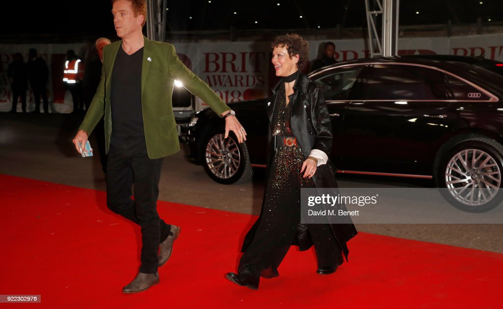 Damian Lewis and Helen McCrory arrive in an Audi for the BRIT Awards at The O2 Arena on February 21, 2018 in London, England.