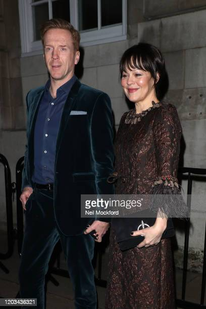 Damian Lewis and Helen McCrory arrives for the Charles Finch & CHANEL Pre-BAFTA Party at 5 Hereford Street on February 01, 2020 in London, England.