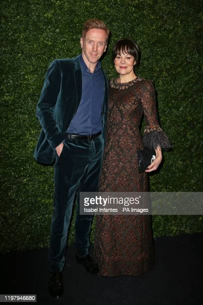 Damian Lewis and Helen McCrory arriving at the Charles Finch and Chanel pre-Bafta party at 5 Hertford Street in Mayfair, London.