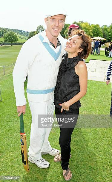 Damian Lewis and Helen McCrory attend the first ever 'Words For Wickets' festival featuring teams made up of authors and actors at The Wormsley...