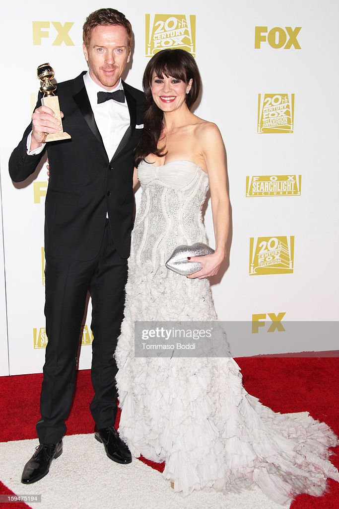 Damian Lewis (L) and Helen McCrory attend the FOX Golden Globe after party held at the FOX Pavilion at the Golden Globes on January 13, 2013 in Beverly Hills, California.