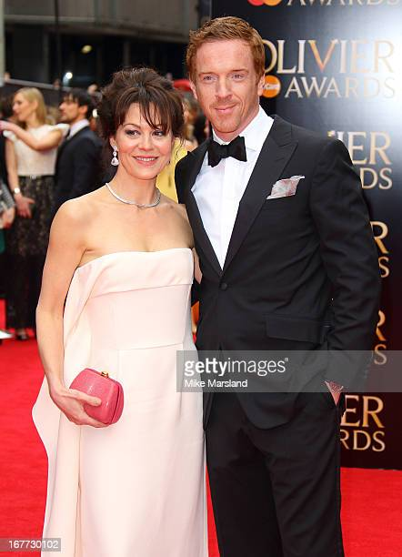 Damian Lewis and Helen McCrory attend The Laurence Olivier Awards at The Royal Opera House on April 28 2013 in London England