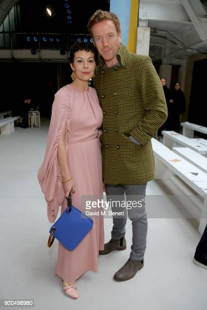 Damian Lewis and Helen McCrory attend the Roksanda show during London Fashion Week February 2018 at Eccleston Place on February 19 2018 in London...