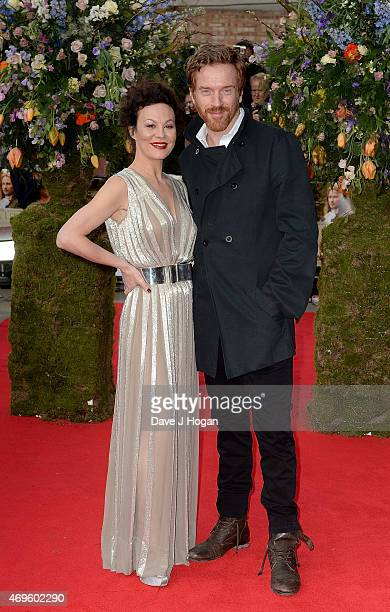 """Damian Lewis and Helen McCrory attend the UK premiere of """"A Little Chaos"""" at ODEON Kensington on April 13, 2015 in London, England."""