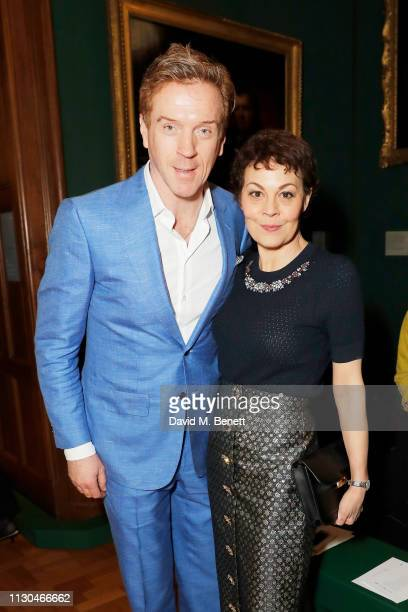 Damian Lewis and Helen McCrory attends the Erdem show during London Fashion Week February 2019 at National Portrait Gallery on February 18 2019 in...